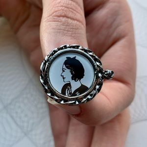 CHANEL Gabrielle Cameo Portrait Gunmetal Ring